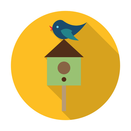 agricultura: starling, birdhouse flat icon with long shadow for web design