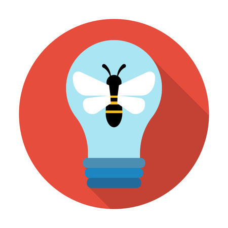 bees: bee,lightbulb flat icon with long shadow for web design