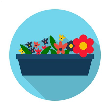 flowerbed: flowerbed flat icon with long shadow for web design Illustration