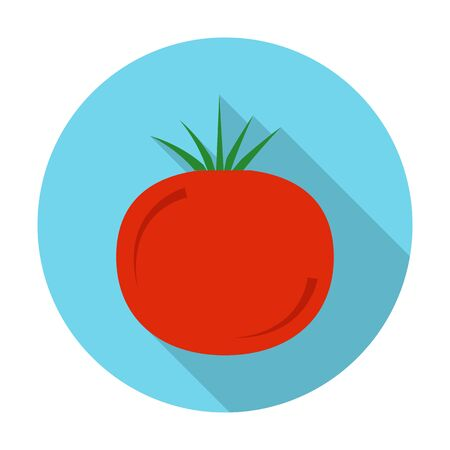 tomates: tomate icono plana con una larga sombra para el diseño web Vectores