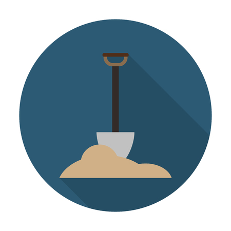 agricultura: shovel,land flat icon with long shadow for web design