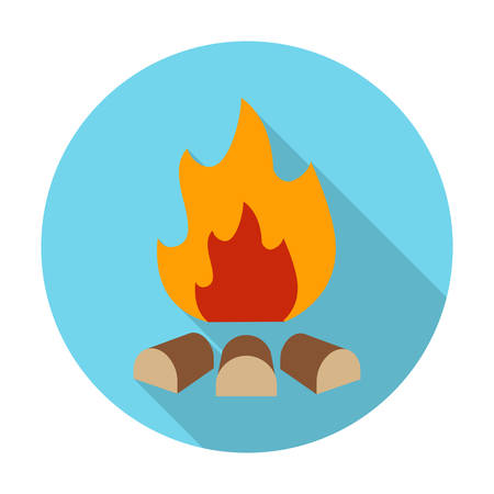 agricultura: bonfire flat icon with long shadow for web design