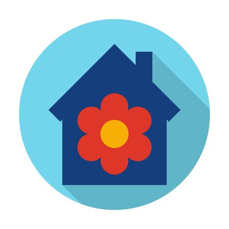 agricultura: house flat icon with long shadow for web design