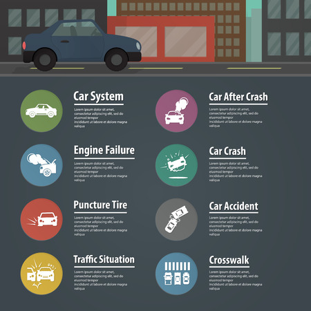 a white police motorcycle: vector illustration of car infographics, car icons for web