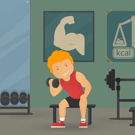 personal trainer: Training in GYM, sportman, training, workout, personal trainer vector illustration