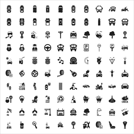 spare car: car, repair, mechanic black simple icons set for web design