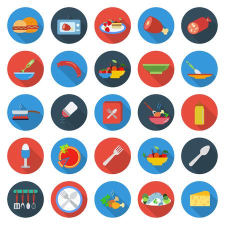 keuken, voedsel, het koken van 25 vlakke pictogrammen set voor web design