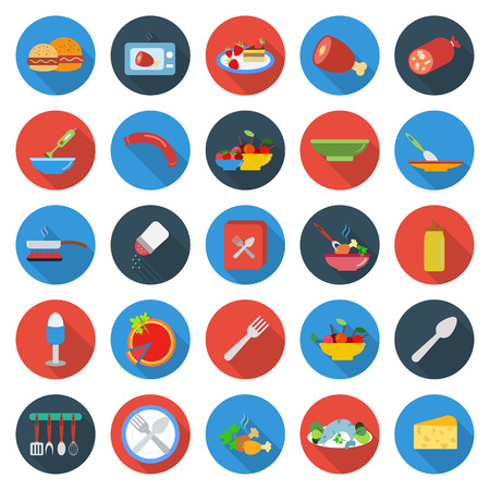 kitchen, food, cooking 25 flat icons set for web design