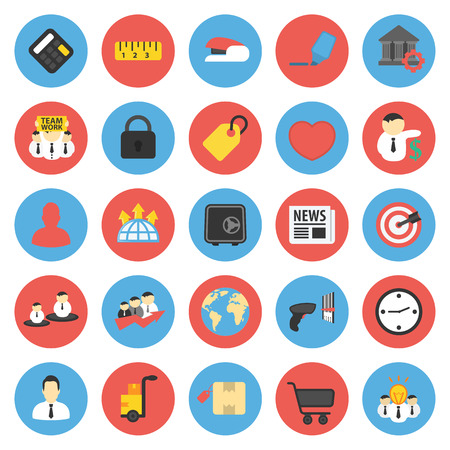 Business, Finance 25 flat icons set for web design