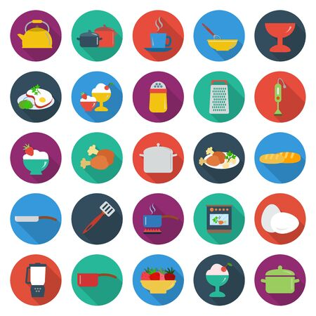 25: kitchen, food, cooking 25 flat icons set for web design