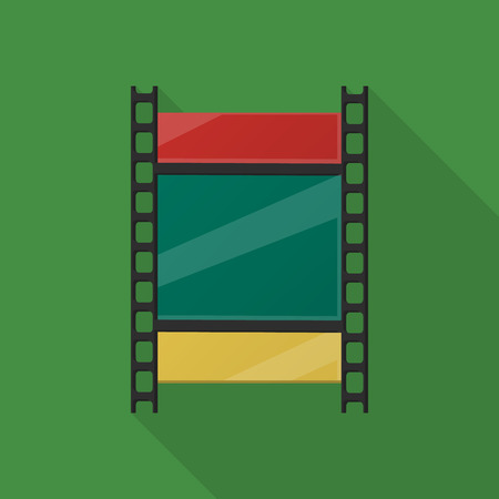 3d film: reel of film flat icon with long shadow for web design
