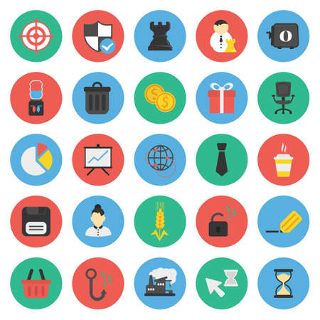 armchair shopping: Business, Finance 25 flat icons set for web design Illustration