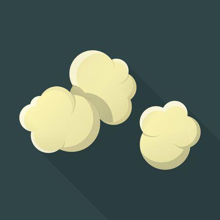 palomitas: palomitas de maíz icono plana con una larga sombra para el diseño web