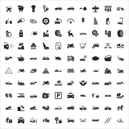 car accessory: car, repair, mechanic black simple icons set for web design