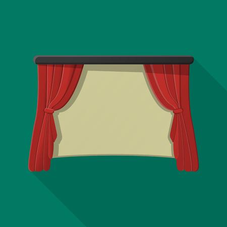 cortinas: Cortina de pantalla plana icono con una larga sombra para el diseño web
