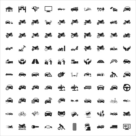 motorcycle officer: car, repair, mechanic black simple icons set for web design