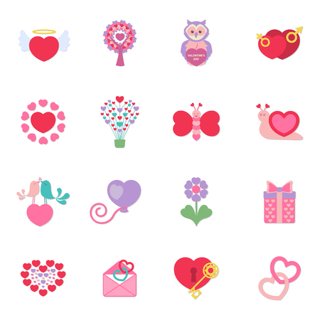 16: Valentines Day 16 flat icons set for web design