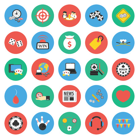intentions: Casino, gambling 25 flat icons set for web design Illustration