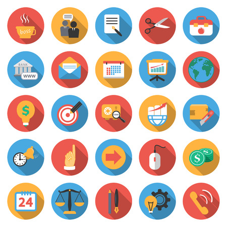 Business, Finance 25 flat icons set for web design Ilustrace