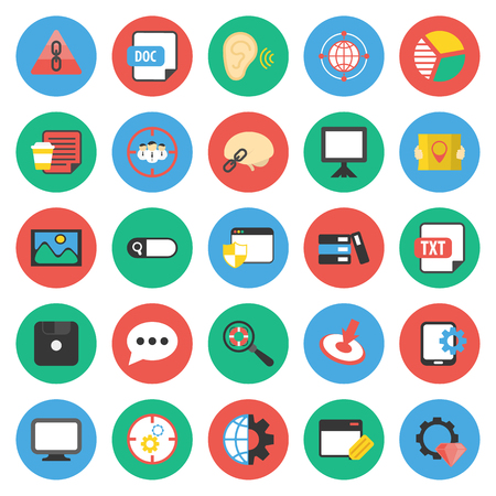 marketer: SEO, promotion, marketing, marketer 25 flat icons set for web design Illustration
