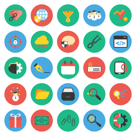 hopper: SEO, promotion, marketing, marketer 25 flat icons set for web design Illustration