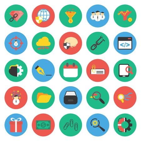SEO, promotion, marketing, marketer 25 flat icons set for web design Illustration