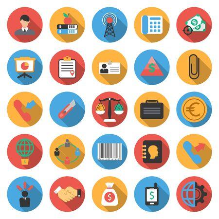 set the intention: Business, Finance 25 flat icons set for web design Illustration
