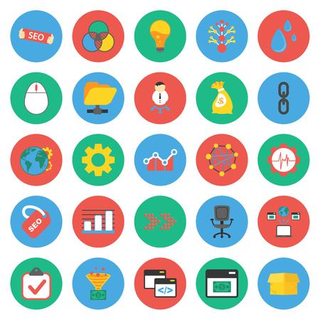 web marketing: SEO, promotion, marketing, marketer 25 flat icons set for web design Illustration
