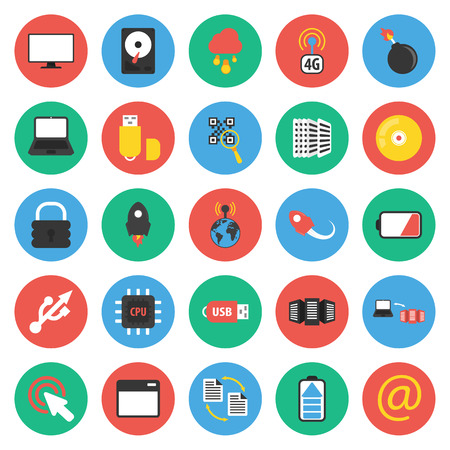 25: Computer, technology, pc 25 flat icons set for web design