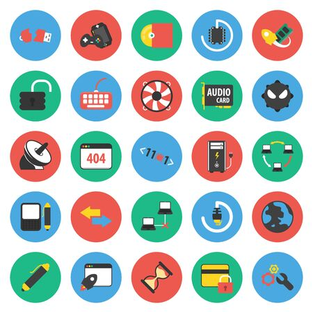 monoblock: Computer, technology, pc 25 flat icons set for web design