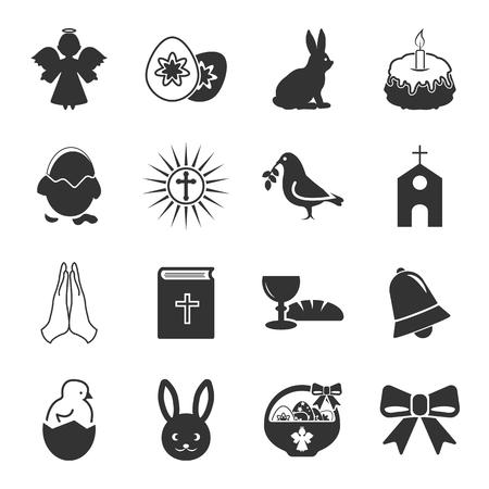 Ostern, heilige schwarze einfache Symbole für Web-Design Vektorgrafik