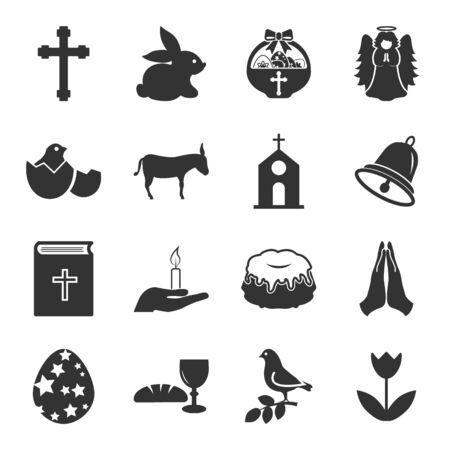 angel roses: Easter, holy black simple icons set for web design Illustration