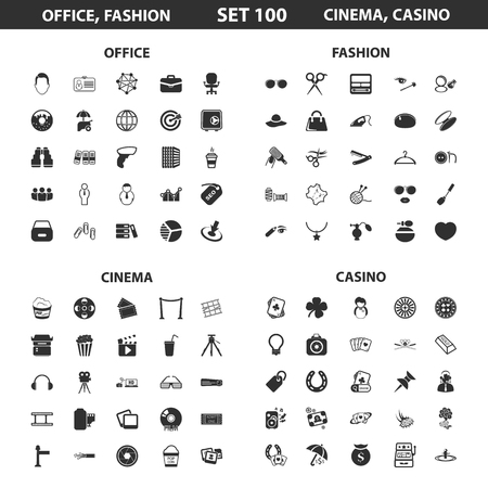 simple: Office, fashion set 100 black simple icons. Fashion, cinema, casino icon design for web and mobile device.