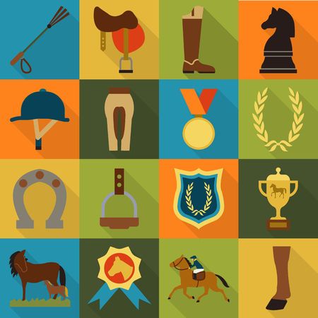 rafter: Horse, racing, racetrack 16 flat icons. Long shadow style for web design. Illustration