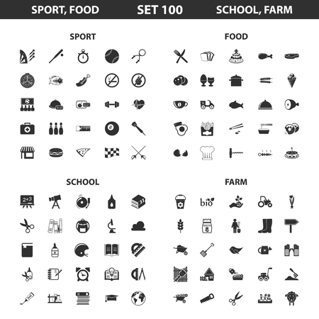 vegetable garden: Sport, fitness, school set 100 black simple icons. Food, farm, gardening icon design for web and mobile device.