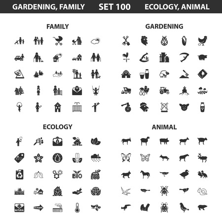 black family: Ecology, family set 100 black simple icons. Gardening, animal icon design for web and mobile device.
