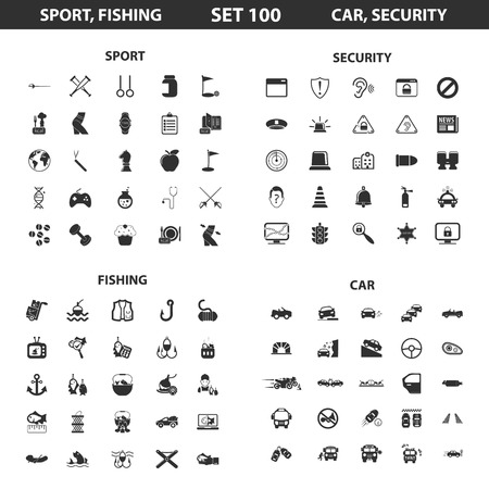 crossbar: Sport, fitness, fishing set 100 black simple icons. Security,car icon design for web and mobile device.