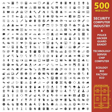 Veiligheid, de computer, de industrie op 500 zwarte eenvoudige pictogrammen. Politie, hacker, wacht pictogram ontwerp voor het web en mobiele apparaten. Stock Illustratie
