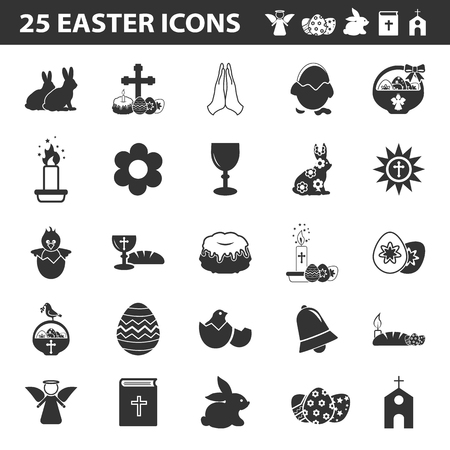 bible flower: Easter, holy 25 black simple icons set for web design