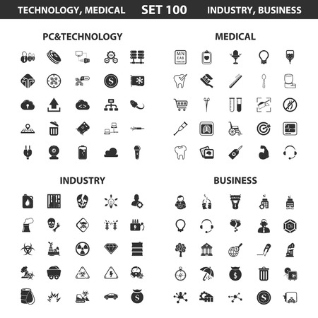 industry: Pc, technology set 100 black simple icons. Medical, industry, business icon design for web and mobile device. Illustration
