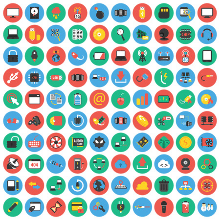 computer icons: Computer, technology, pc 100 flat icons set for web design