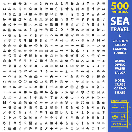 Sea, travel, vacation set 500 black simple icons. Holiday, camping, tourist icon design for web and mobile device.