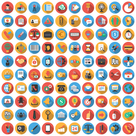 Business, Finance, Bank, investment 100 flat icons. Long shadow icon style for web design.