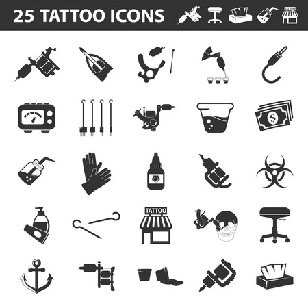 parlor: Tattoo, parlor, machine 25 black simple icon.Tattoo studio designed icons for web and mobile. Illustration
