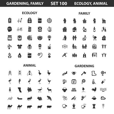 Ecologie, famille situé à 100 simples icônes noires. Jardinage, animal icône conception pour le web et appareil mobile.
