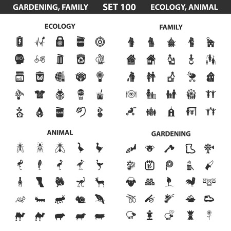 ecology icons: Ecology, family set 100 black simple icons. Gardening, animal icon design for web and mobile device.