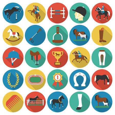 rafter: Horse, racing, racetrack 25 flat icons. Long shadow style for web design. Illustration