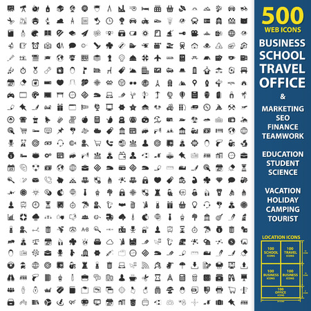 Business, school, travel set 500 black simple icons. Office, marketing, seo icon design for web and mobile device.