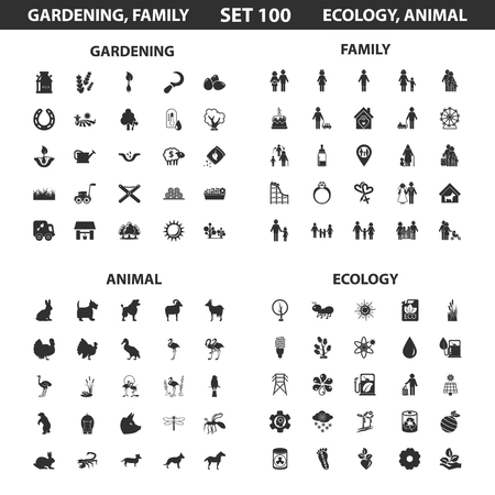 family gardening: Ecology, family set 100 black simple icons. Gardening, animal icon design for web and mobile device.