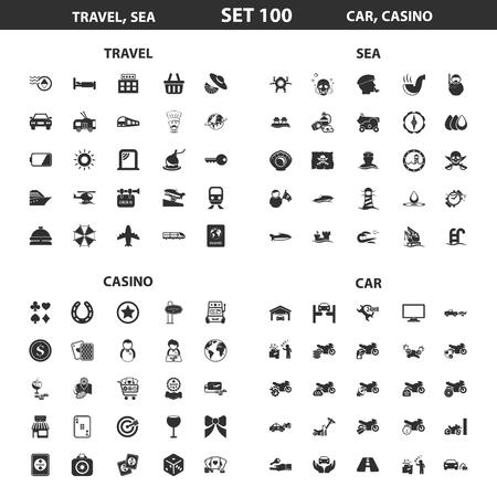 Voyage, mer, casino situé à 100 simples icônes noires. Car, hôtel icône de conception pour le web et appareil mobile.